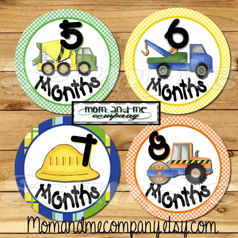 Construction monthly stickers Baby Boy Month stickers Baby boy Shower gift  Baby Monthly  stickers Infant Milestone stickers Tractors truck