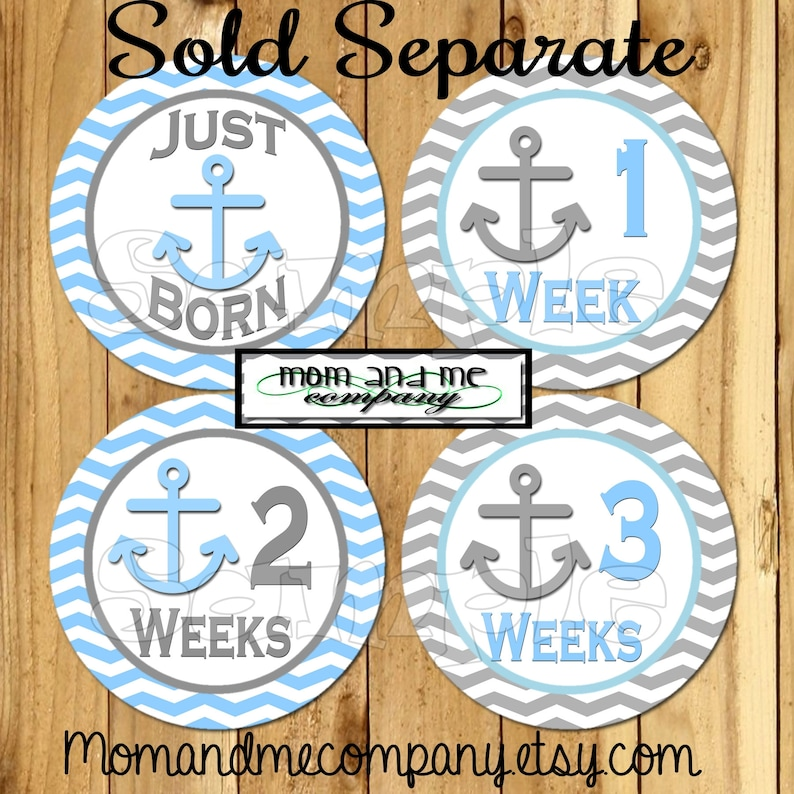 Baby boy monthly stickers Anchor 12 month stickers Baby boy nautical Growth Sticker stickers Nautical nursery Baby shower gift  New baby