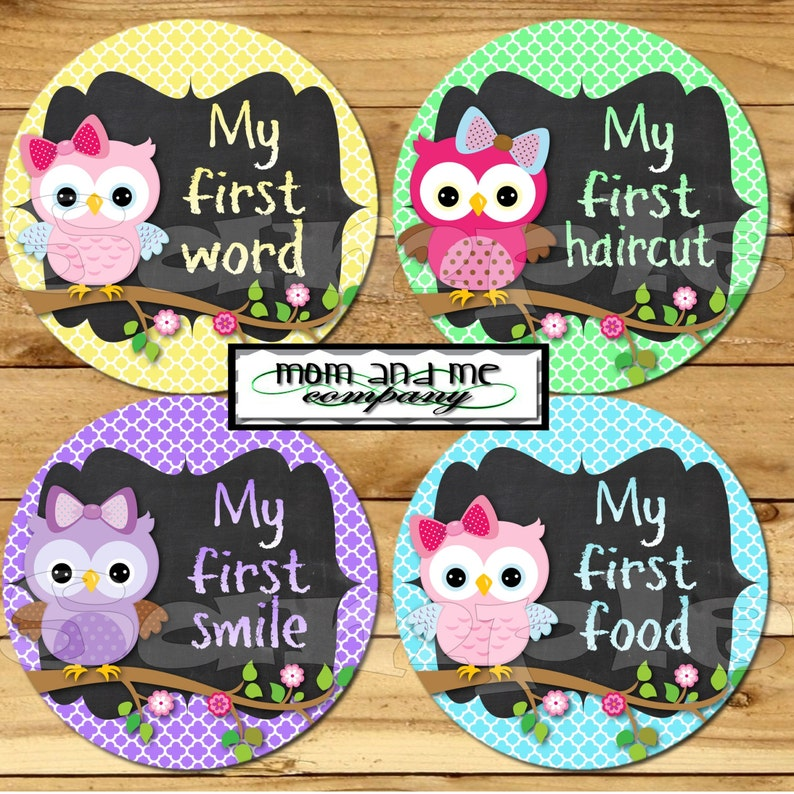 My First Baby stickers Milestone Onepiece Stickers Baby Girl Owl Monthly Stickers Baby Shower Gift I can stickers chalkboard chalk