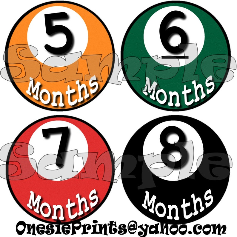 12 Precut Monthly Stickers set Baby Shower gift 1-12 Month stickers Infant Milestone stickers Onepiece Month to Month Baby Boy Pool balls