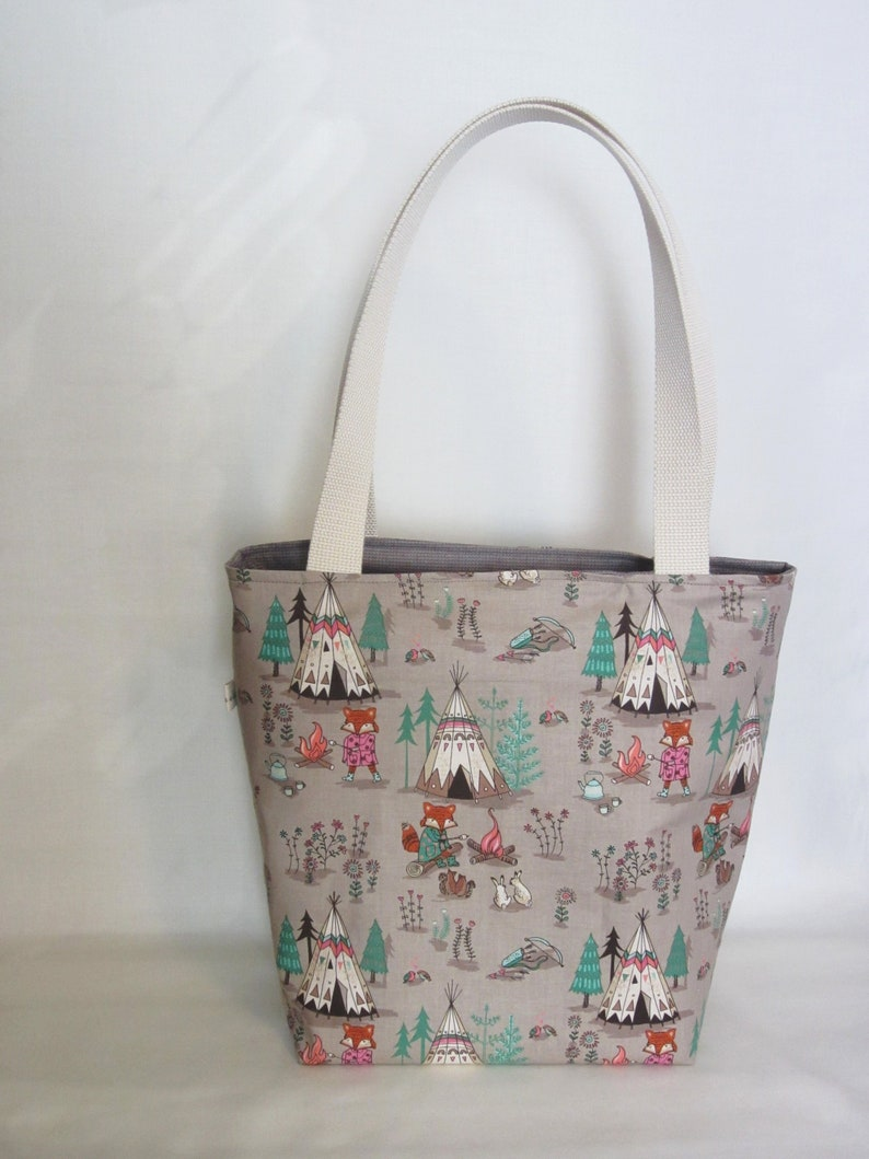 Camping Foxes Knitting Tote. Large Knitting or Crochet Project Bag