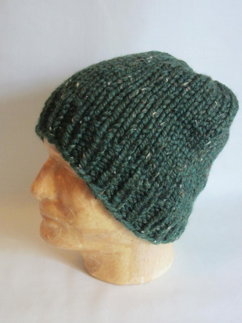Hand Knit Hat. Dark Green Winter Hat.  a0a1cc548fa