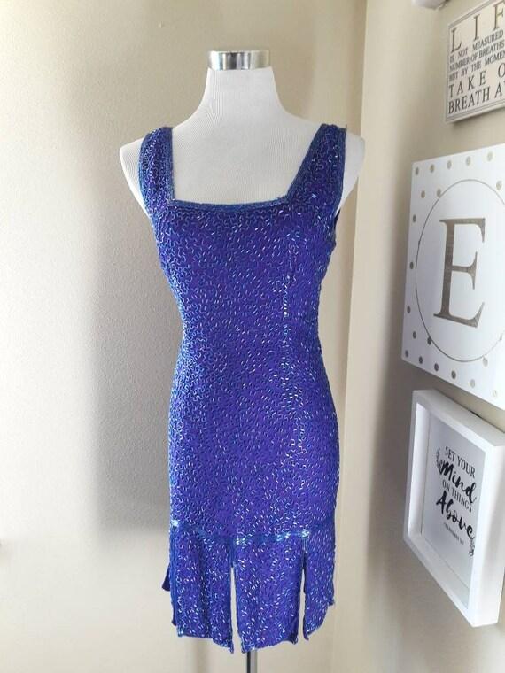 Vintage purple sequin flapper dress 20s style grea