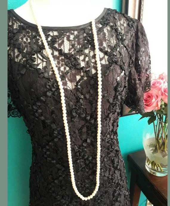 Vintage Great Gatsby Dress 90s does 20s Black  Lac
