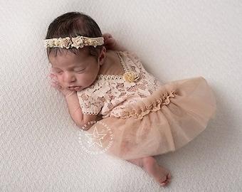 Newborn Lace Romper & Tutu Skirt; Light Beige Color; Newborn Girl Outfit; Newborn Romper Prop; Newborn Photo Prop; Photography Prop