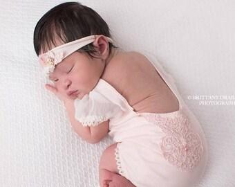 Newborn romper Newborn prop Newborn photo prop Newborn outfit prop Photo outfit Pink Lace Romper Royal