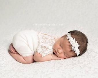 Newborn Romper Prop; Newborn Lace Romper; White; Short Sleeve Romper; Newborn Photo Prop; Photography Prop; Lace Romper Prop; Baby Props 011
