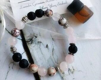 Lava Essential Oil Bracelet | Lava Diffuser Bracelet | Aromatherapy Bracelet | 1ml Essential Oil Blend | Organza Gift Bag