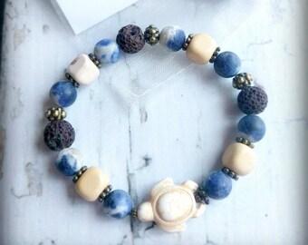 Lava Essential Oil Bracelet | Lava Diffuser Bracelet | Aromatherapy Bracelet | Sea Turtle | 1ml Essential Oil Blend | Organza Gift Bag