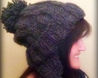 Knitted Chunky Cuffed Earflap Slouch Cap ~ Pattern