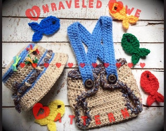 Newborn (0-3 mths) Fisherman's Set Crochet Pattern ~ diaper cover with suspenders, hat, fish ~ baby gift or photography prop