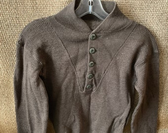 6191f0ec8f Vintage Knitted Button Up Sweater US Army ww2 Size S