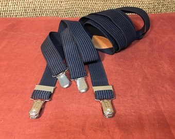Vintage 1980's Dark Blue Braces Suspenders With Four 4 Clips
