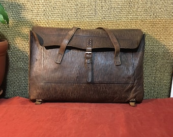Vintage 1970's Brown Leather Aged Medium Size School Backpack