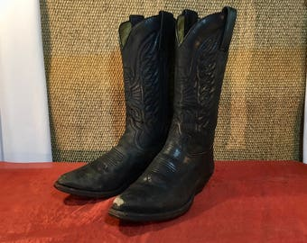Vintage 1990's Black Leather Cowboy Cowgirl Western Sendra Boots  -  Size EUR 37 / US Woman 6 1/2 / UK Woman 4 1/2