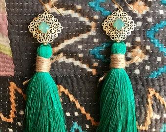 Jaipur Earrings - Pacific Green Blue Opal, Swarovski Crystal, Tassels, Filigree Medallion
