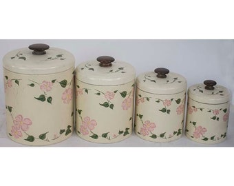Vintage Ransburg Tin Canister Set of 4 Pink Flowers Green Leaves