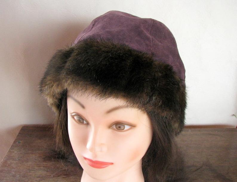DENNIS by DENNIS Basso shammy winter hat made of genuine suede lilac eggplant color Vintage hat