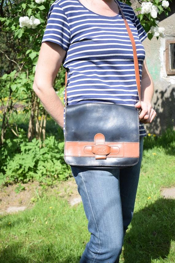 Vintage Black Brown real leather messenger bag gen