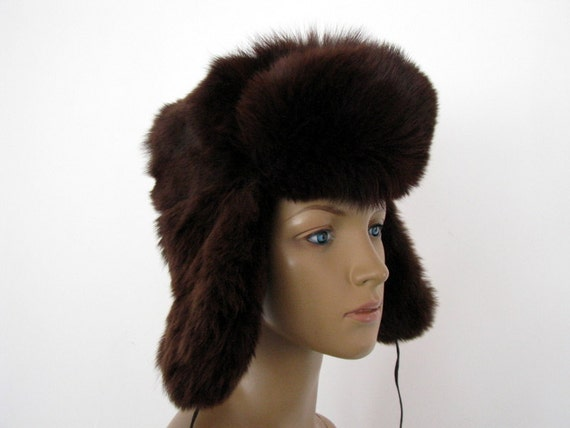 Soviet Vintage hat foxy Rabbit Fur Winter Hat Ushanka unisex  9e8cf117723f
