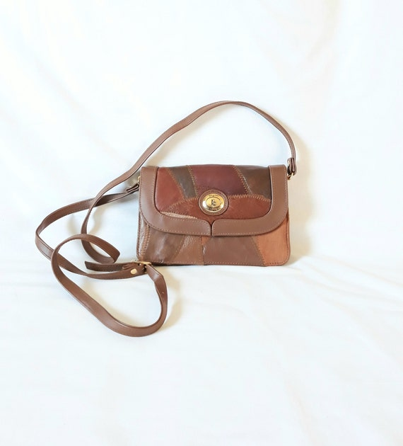 vintage Swedish Leather Small patchwork brown bag