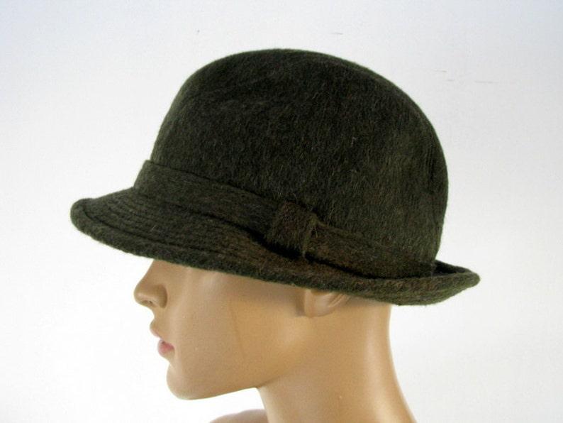 Swedish Vintage Fedora Hat Moss green felt hat Vintage trilby  1342a2e4e44
