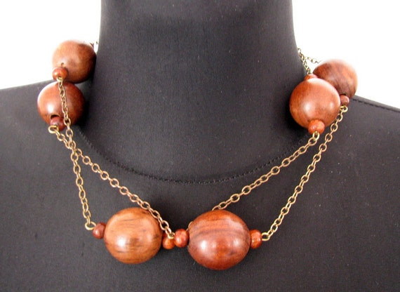 Vintage wooden beads Natural wood beads Wood neckl