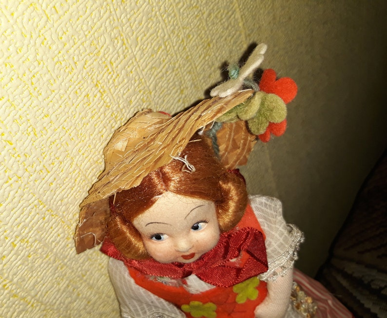 Vintage Scandinavian Swedish doll girl in folk costume with straw hat floral decors ragdoll handpainted face blue eyes redhead cottage chic