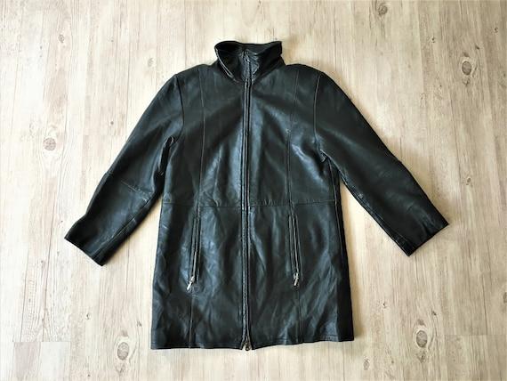 Vintage black Leather women Coat 90s soft genuine
