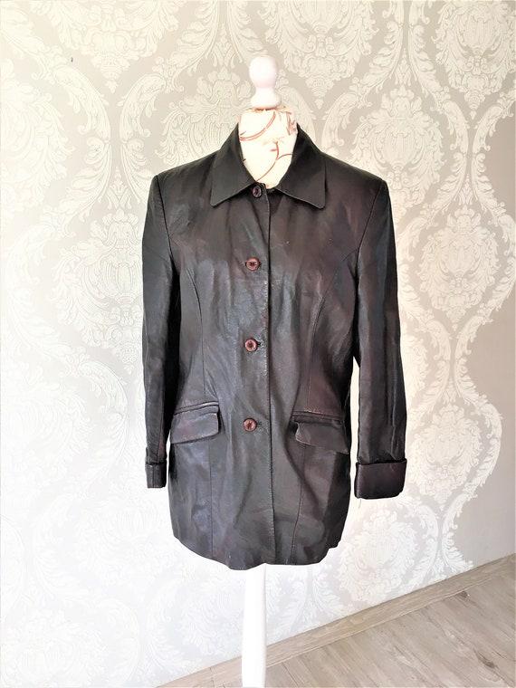 Vintage women Leather Jacket coat Dark burgundy Ja
