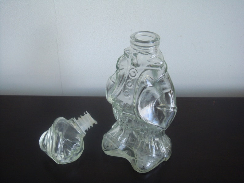 Swedish vintage Glass carafe Thick glass decanter Faceted glass bottle in shape of a man shape old carafe antique decanter with stopper