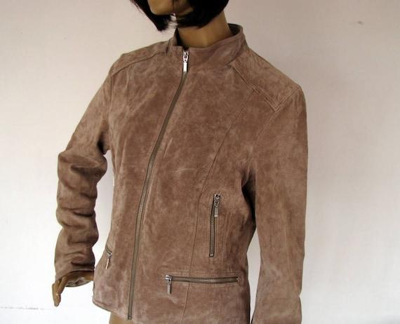 Vintage ladies leather jacket Goldstein of Sweden Plaid Jacket 90s Size 46 Womens classic zippered jacket