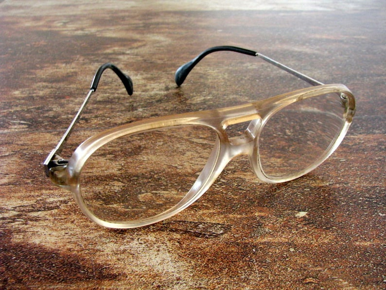 6d393986371 Vintage retro plastic rare beige eyeglasses with retractable
