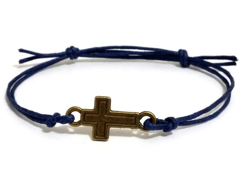 d19f7069e3359 men's bracelet, bronze cross charm, blue cord, bracelet for men, gift for  him, cross bracelet, adjustable bracelet, mens jewelry, MB018