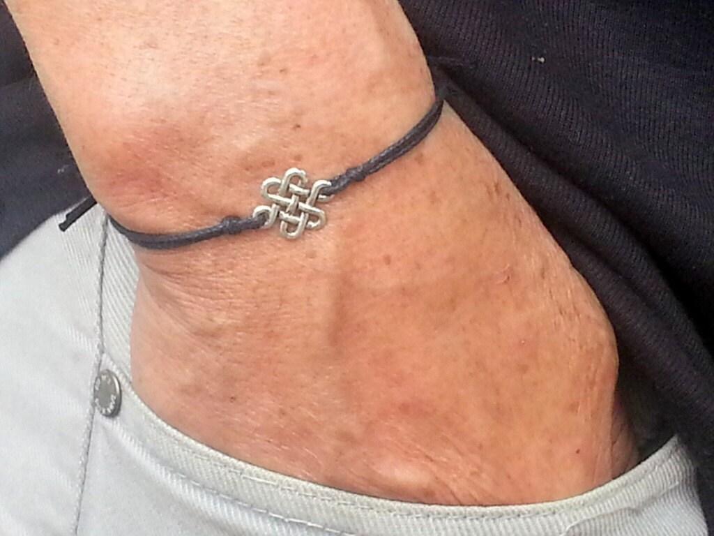 silver infinity knot mens bracelet, black wax cord, adjustable bracelet,  small charm bracelet for men, gift for him, mG002