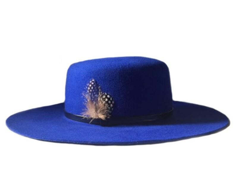 7308416071f35 ASHAKA GIVENS Wide Brim-Flat Top Fedora Hat With