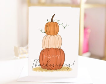 Home made fall Happy Birthday card Blank greeting cards Fall Pumpkin Cards 5-Pack So Grateful for You pumpkin card hand painted