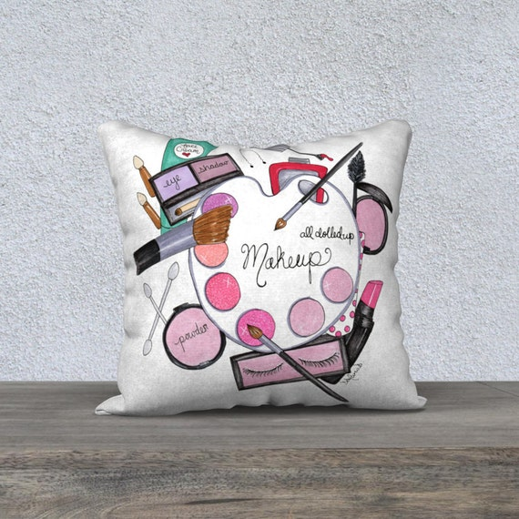 Illustrated Pillow Makeup Decorative Pillows Girly Cushion Etsy Fascinating Girly Decorative Pillows