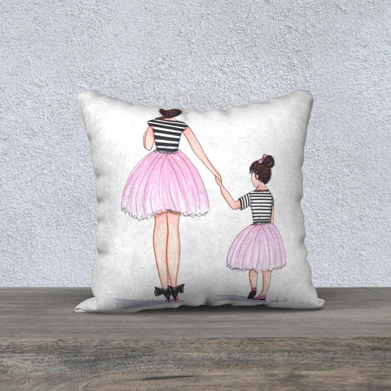 Illustrated Pillow Cover Girly Cushions Covers Decorative Etsy Unique Girly Decorative Pillows
