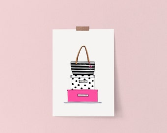 Fashion illustration, Kate Spade inspired, Kate Spade purse illustration, Kate spade purse wall art, Kate Spade print, Kate Spade decor
