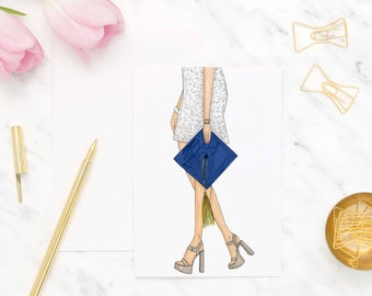 Graduation card, Congratulations card, Graduation greeting card, Fashion illustrated cards, College graduate cards, Blank card, Grad card
