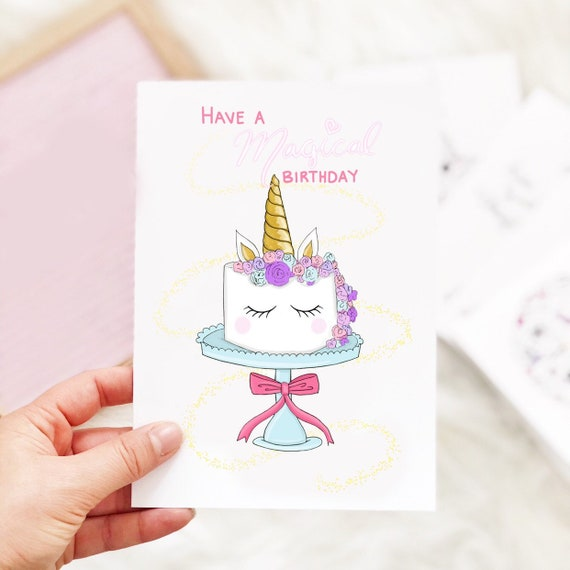 Unicorn Birthday Card Magical Unicorn Greeting Card Cute