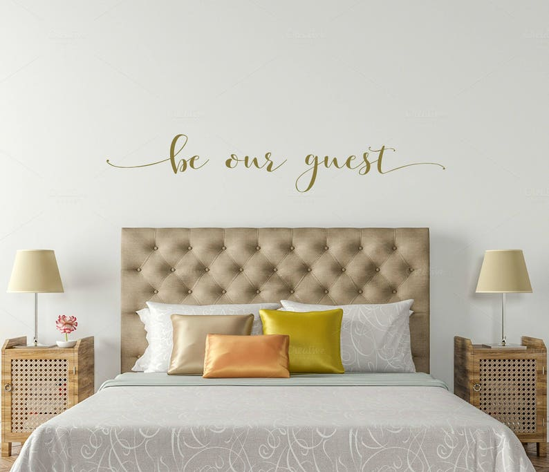 metallic gold be our guest bedroom wall decal be our guest | etsy
