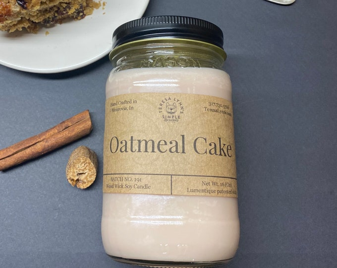 Oatmeal Cake, soy candle, wood wick, kitchen, farmhouse, bakery candle, crackling candle, phthalate free, natural