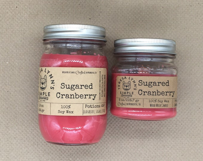 Cranberry | wood wick | scented candle handmade candle | Soy Wax | small batch candle | long burning candle
