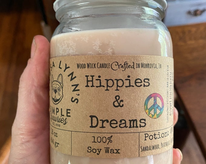 Hippies and Dreams, Sandalwood, Patchouli, Vetiver, woodwick, wood wick, hippie candle, soycandle, phthalate free, luxury candle