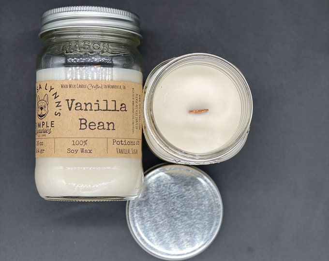 Vanilla Bean candle, Wood Wick Candle, 100% soy, handmade, phthalate free, essential oil, eco friendly, woodwick, candle, farmhouse, white