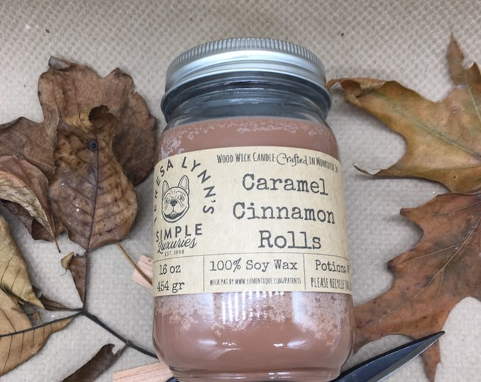 Caramel Cinnamon Roll, soy candle, Wood Wick, bakery candle, French Bulldog, Fall, Farmhouse, spice, bread pudding, southern, rolls