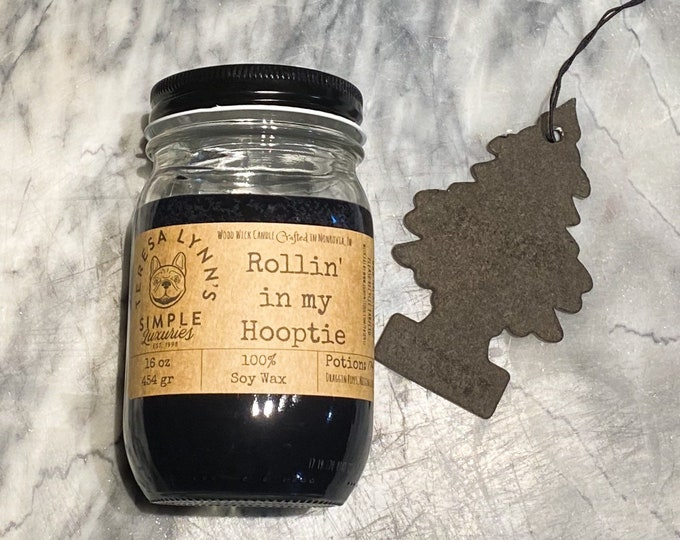 Rollin in My Hooptie, Car freshener, incense, essential oil, phthalate free, wood wick, soy candle, vegan, 90s, retro, hip hop, black candle