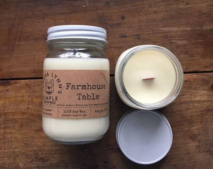 Farmhouse Table, Apple, Tangerine, Pear, Cinnamon, Clove, Vanilla, Sugar scented,  100 % phthalate free, wood wick, soy candle